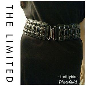 The Limited-Black Jeweled Stretch Belt-S/M